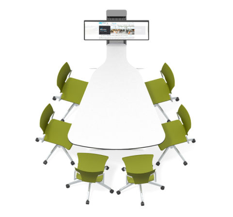 6 Seat Plectrum-shaped Collaborative Multimedia Meeting Table
