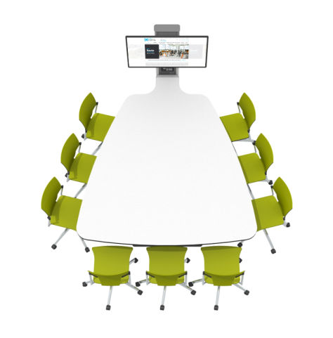 9 Seat Plectrum-shaped Collaborative Multimedia Meeting Table