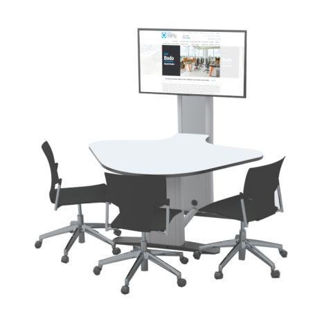 3 Seat Reverse Plectrum Collaborative Multimedia Meeting Table