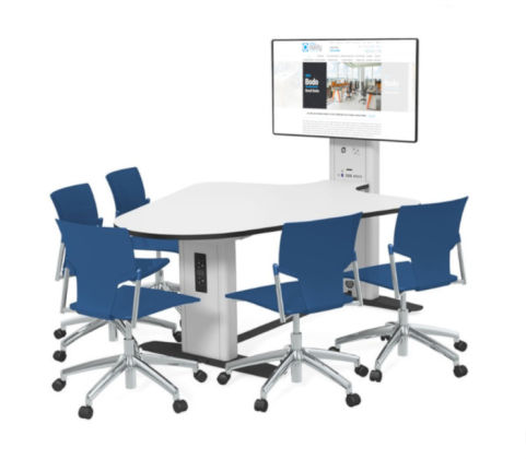 5 Seat Reverse Plectrum Collaborative Multimedia Meeting Table