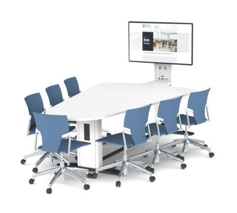 7 Seat Reverse Plectrum Collaborative Multimedia Meeting Table
