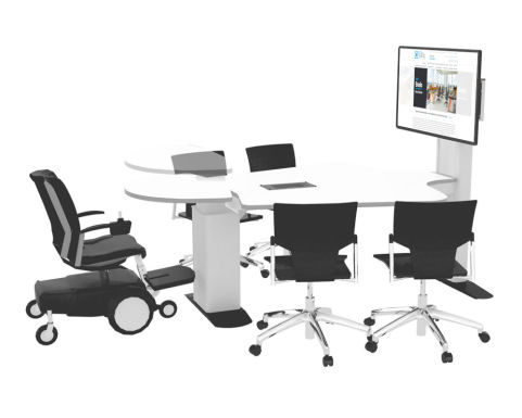 5 Seat Multimedia Conference Table With Height Adjustable Segment