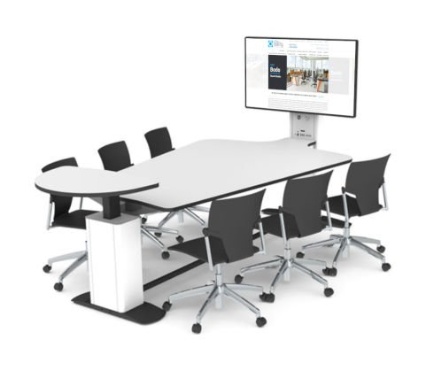7 Seat Multimedia Conference Table With Height Adjustable Segment