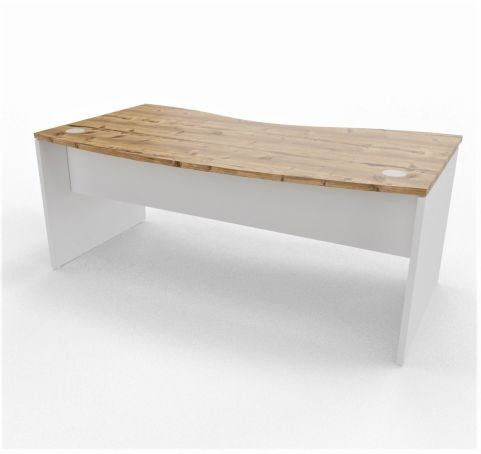 Oslo Double Wave Panel Desk Timber Top White Legs