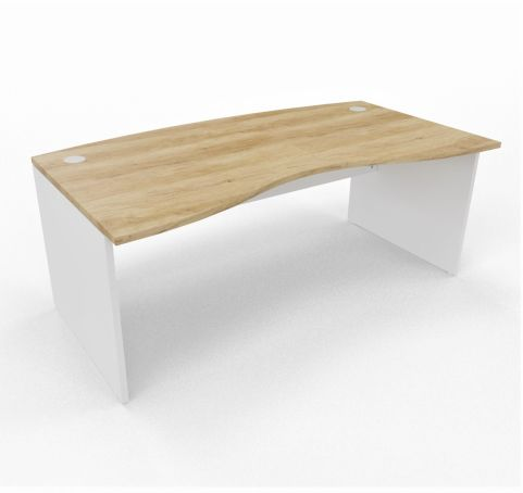 Oslo Double Wave Panel Desk Timber Top White Legs Cantiliver