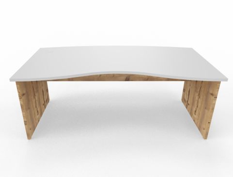 Oslo Double Wave Panel Desk Timber Top White Legs Back View
