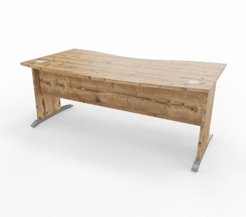 Oslo Double Wave Panel Desk Timber Top Timber Legs Cantiliver