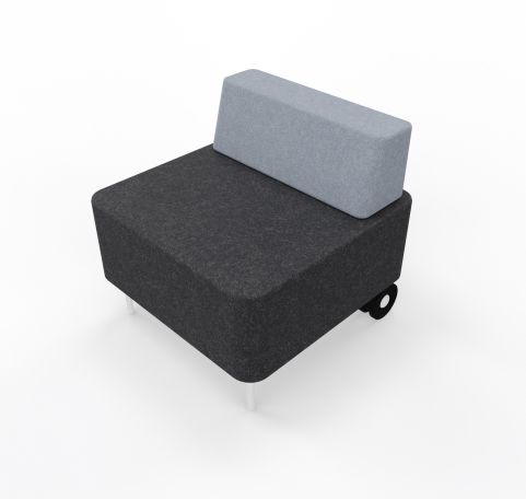 Single Seater With Back Rest Graphite Seat Light Grey Back Rest And Castor