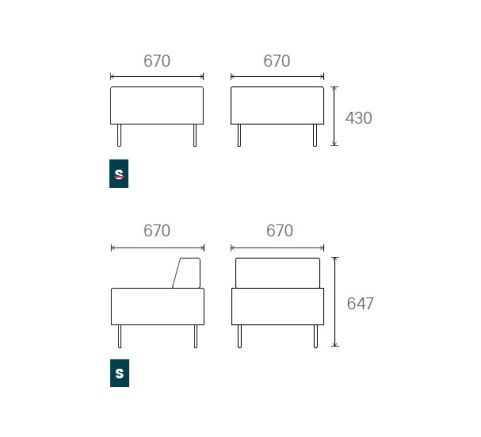 Dimensions 1 Seater Unit 670mm Wide X 670mm Deep