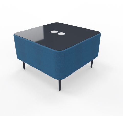 Foot Stool Square Blazer Blue Fabric With Glass Plate Top With Electrification
