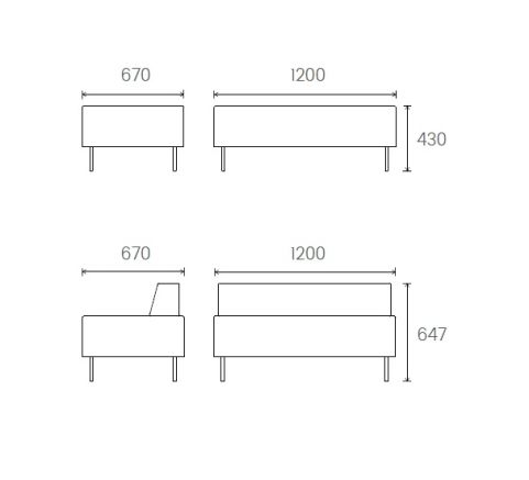 Dimensions 2 Seater Unit 1200mm Wide X 670mm Deep