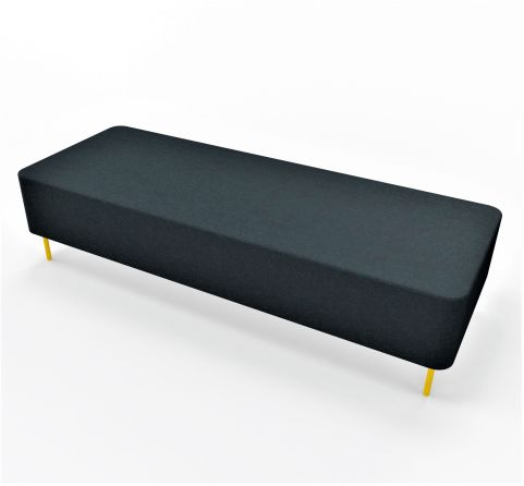 3 Bench Low Bench No Back Rest Grey Fabric Yellow Feet