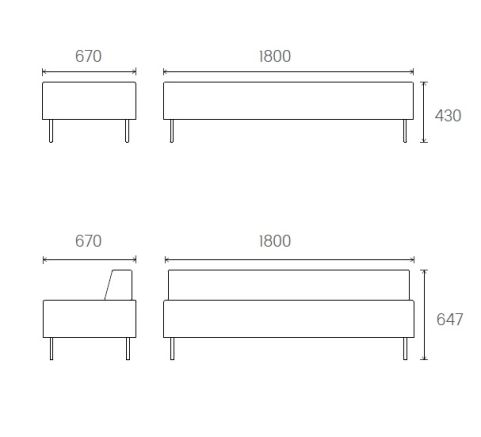 Dimensions 3 Seater Unit 1800mm Wide X 670mm Deep