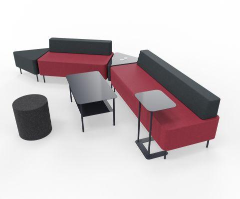 Zelie Soft Seating Dark Red And Dark Grey Back Rest With Tables And Stools Tables And Stools