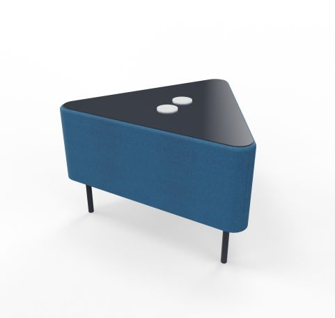 Foot Stool Angled Blazer Blue Fabric With Glass Plate Top With Electrification