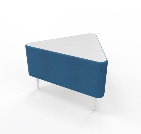 Foot Stool Angled Blazer Blue Fabric With White Glass Plate Top With Electrification