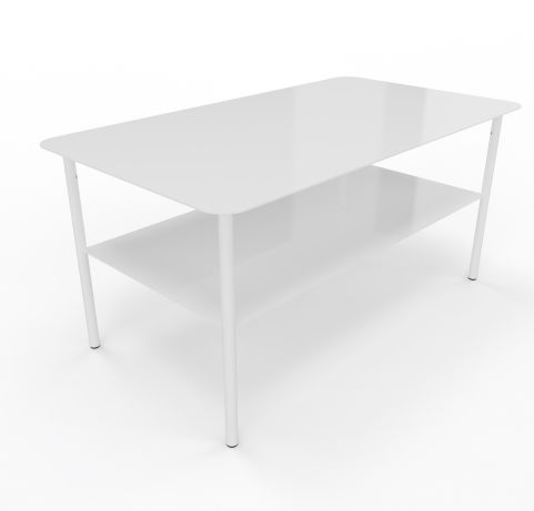 Zelie White Coffee Table Rectangular Table Angled View