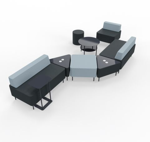 Zelie Soft Seating Dark Grey And Light Grey Back Rest With Tables And Stools