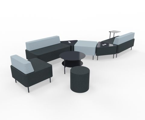 Zelie Soft Seating Dark Grey And Light Grey Back Rest With Tables And Stools Image 2
