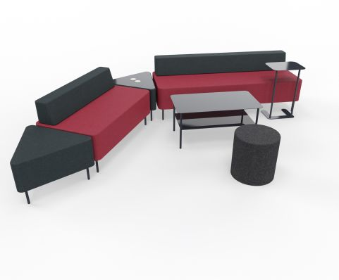 Zelie Soft Seating Dark Red And Dark Grey Back Rest With Tables And Stools