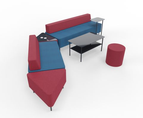 Zelie Soft Seating Dark Red And Dark Grey Back Rest With Tables And Stools 02