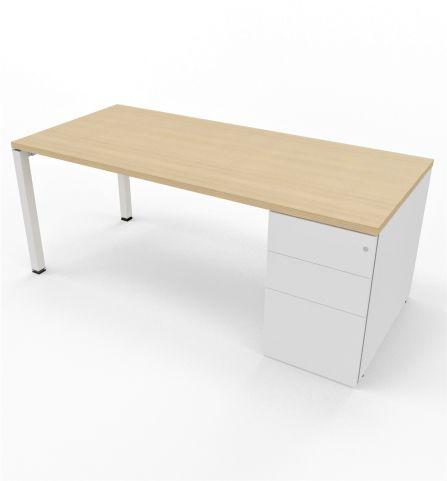 Gateway Desk With Supporting Pedestal Light Oak White Casrcass