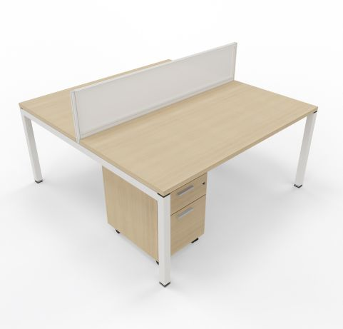 Gateway 2 Person Desk With Screen And Pedestals
