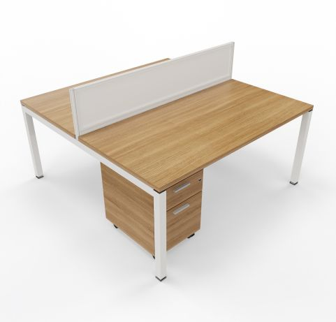 Two Person Desk With Walnut Underdesk Pedestal Unit