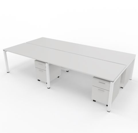Four Person Desk Pedestal Grey Tops White Legs