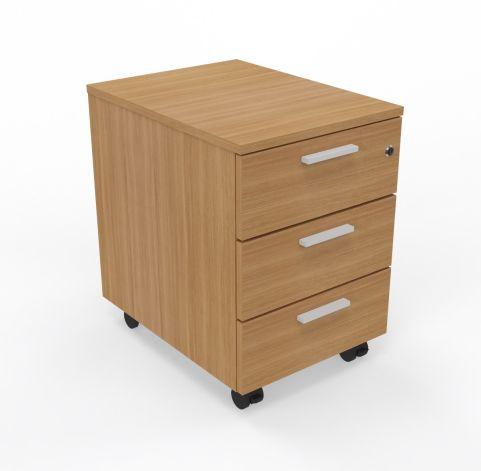 Three Drawer Mobile Pedestal In Walnut