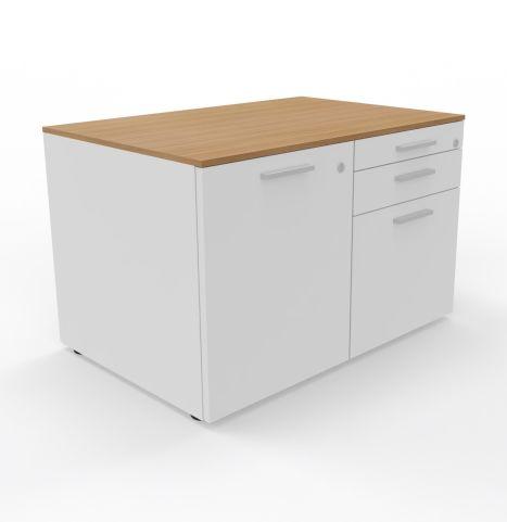 3 DRAWER Storage White Melamine Light Oak Top Unit