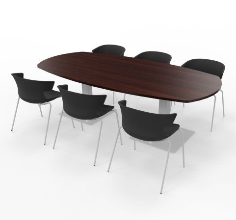 Wenge Top With Cove Chairs Black Shell Aluminium Legs