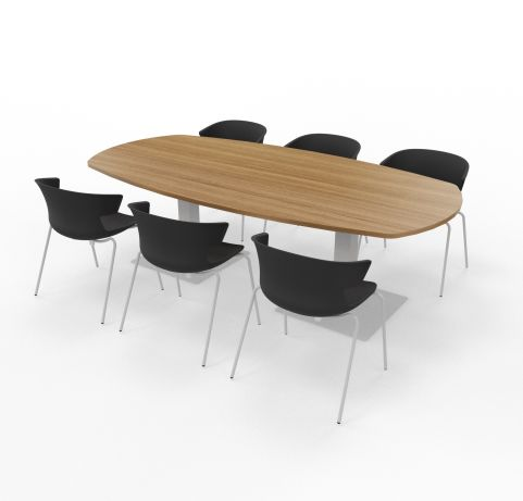 Walnut Top With Black Cove Chairs Black Shell Aluminium Legs