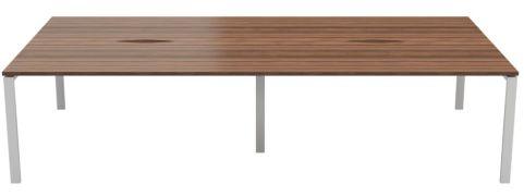 4 Person Bench Desk Unit Walnut Top Silver Legs