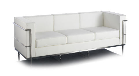 Le Corbuiser Sofa White 3 Seater Office Reality