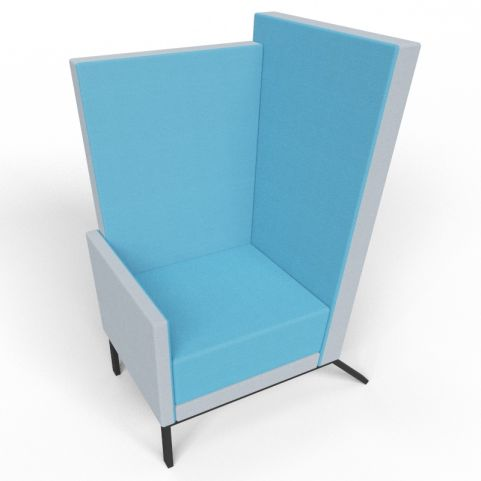 Georgina Blue And Grey High Back Acoustic Chair With Black Legs
