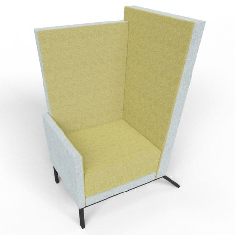 Georgina Upholstered Acoustic High Back Chair In Green And Grey Fabric With Black Legs