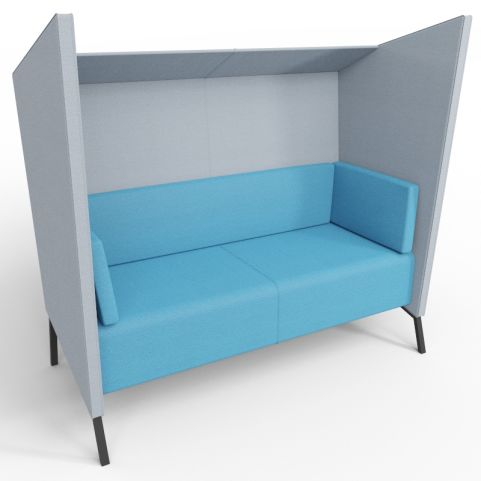 Two Person Andreas High Back Acoustic Seat In Blue And Grey With Black Legs