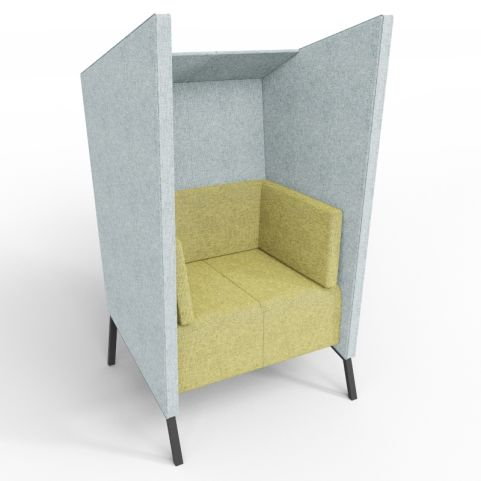 Upholstered High Back Seat In Grey And Green Rivet Textured Hopsack Fabrics With Black Legs