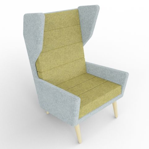 1 - Upholstered Green And Grey High Wing Back Chair With Beech Legs