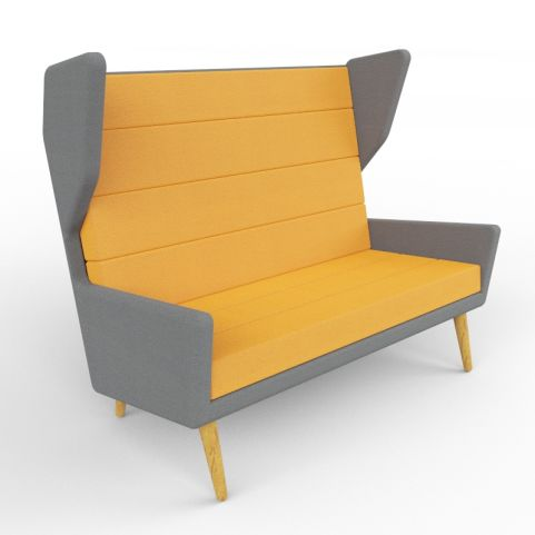 5 - Sturdy Two-person High Wing Back Sofa Available In A Range Of Colours And Comes With Oak Legs