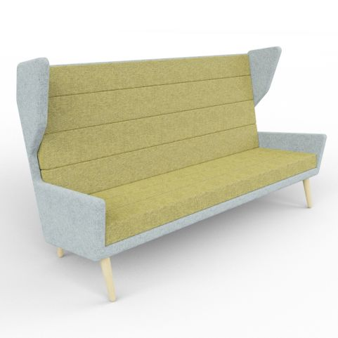 7 - Three Person Upholstered Acoustic Sofa In A Green And Grey Two-tone Finish, With Beech Legs
