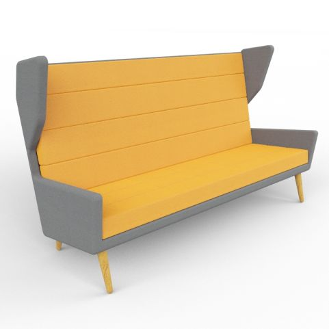 8 - Modern Three Person Upholstered Acoustic Sofa Available In A Wide Range Of Two-tone Finishes - Oak Legs