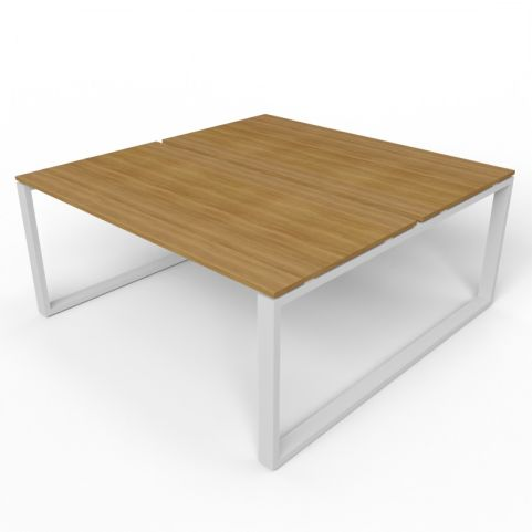 2 Person Loop Frame Desk With Aluminium Frame