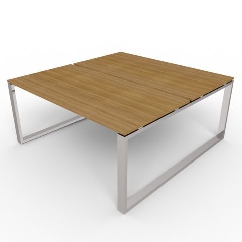 2 Person Loop Frame Desk With Chrome Frame