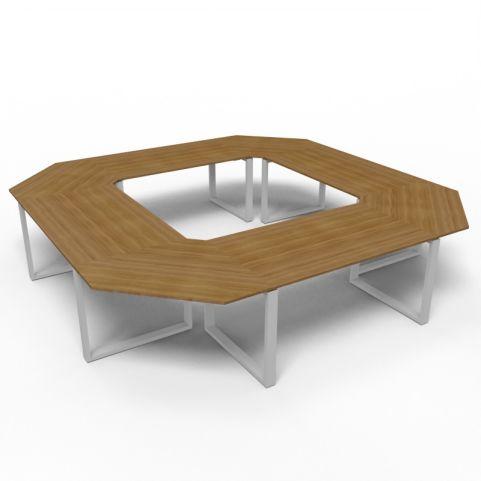 Square Loop Frame Meeting Table - Aluminium Frame
