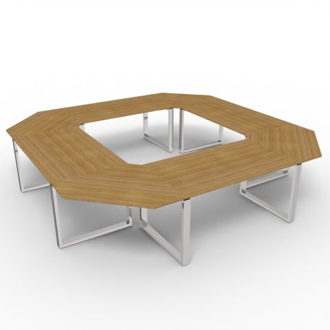 Square Loop Frame Meeting Table - Chrome Frame