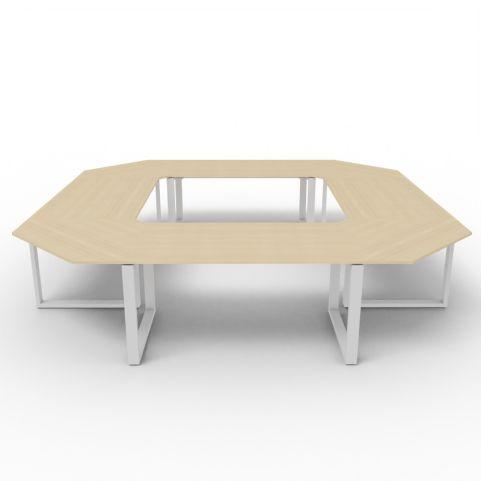 Square Loop Frame Meeting Table - Oak Top - Aluminium Frame