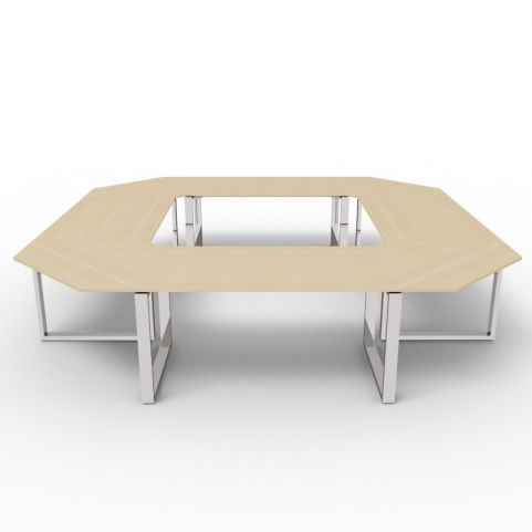 Square Loop Frame Meeting Table - Oak Top - Chrome Frame