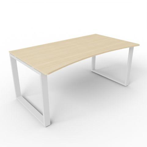Double Wave Loop Frame Desk - Oak - Aluminium Frame